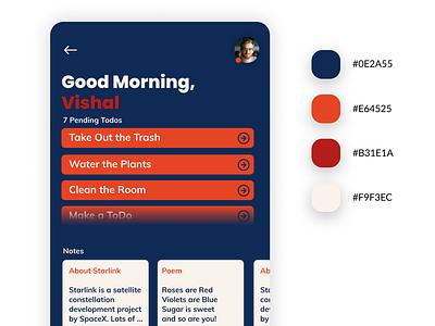 Todo / Note Taking App firstshot color color palette todo app design app minimal design
