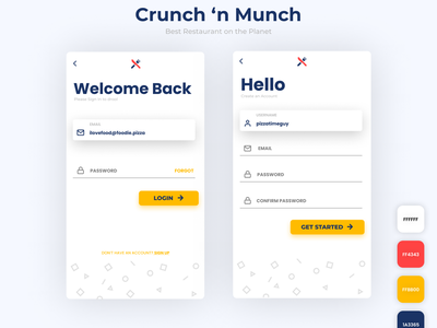 Crunch 'n Munch - Restaurant App Login Screen signin login signup 4 color restaurant ui color palette app app design minimal design