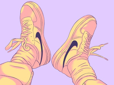 Illustration of nike shoes nike shoes lofi art direction advertisement design composition colors visual procreate art procreate illustration art