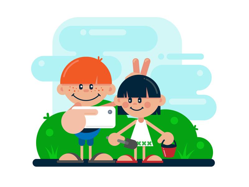 Boy Girl Selfie childrens book kindergarten childhood child children iphone phone selfie 2d art vector design 2d art vector art graphic art illustration graphic design