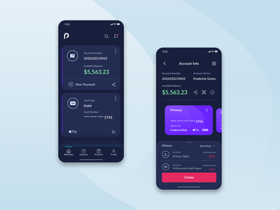 Prosperia - Overview and Account Info banking app credit card finances app finance app bank app banking ux design ui design uxui minimal ui userexperience userinterface