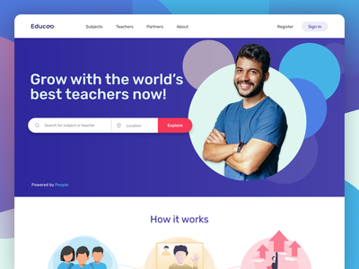 Educoo - Landing Page (Web) user interface design uxui brand identity minimalist website design web design uxigers uiux landing page design landing page education website learning platform education