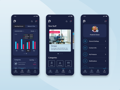Prosperia - Analytics, Product and Personal Profile ios fintech user inteface uxui ui ux bank app banking analytics finance app app design mobile ui