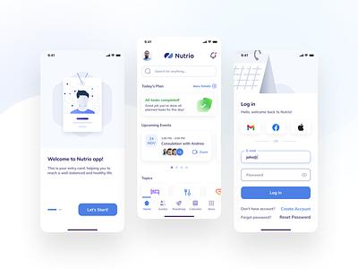Nutrio Consultations Mobile App uiux uidesigner uxdesigner mobile design ios uitrends interface app design uidesign minimal mobile ui app ux ui