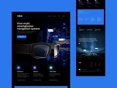 VEO Website onepage sales page landingpage landing maps turist branding design website concept website explore augmented reality glasses