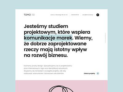Tomo Studio Main project agency typography logo branding design ui portfolio one page onepage landing websites corporate design website studio