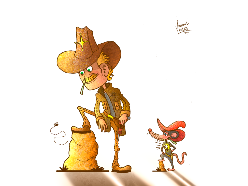 The sheriff and the rat animals illustrated illustration digitalpainting digitalillustration conceptart character photoshop art digital2d cartoonist hat cowboy western sheriff characterdevelopment characterdesign cartoon comic cartoon character cartoon rat