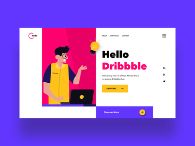 Hello Dribbble 2020 trend user experience user interface design typography design ux ui illustration debutshot hello dribble