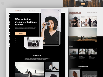 Photography Landing Page homepage model photography photography nature photography blog photography portfolio wedding photography photography landing page photography web photography website photography vector user experience landing page website design website typography design 2020 trend ux ui