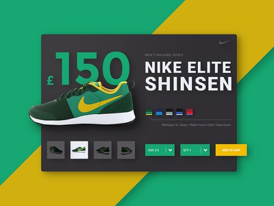 Nike Product Card dark yellow green shadows shoes material design product card product card nike