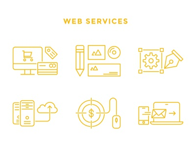 Web Services outline mail hosting pay per click design branding ecommerce web icons services