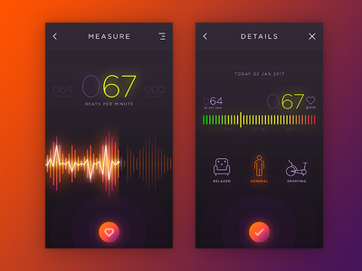 HR Monitor Concept dark heart monitor glows shadows ux material design material gradients ui app heart rate