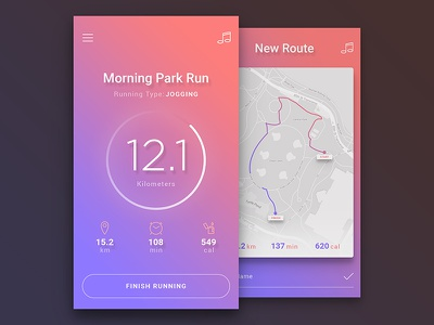 Daily UI #01 - Running App ios material design light vibrant bright colorful daily daily ui shadows gradients ui