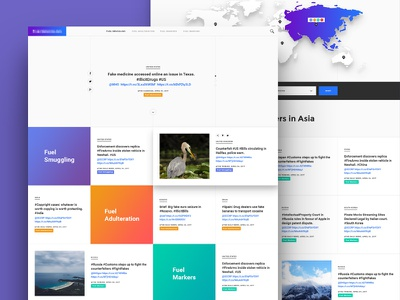 News Aggregator landing page material design material gradients ux ui boxes light aggregator posts articles news