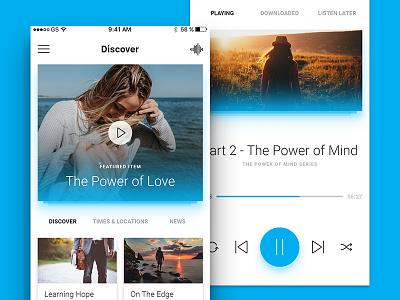 App Screens user interface interface ui gradient glow ios audio player player minimal app blue