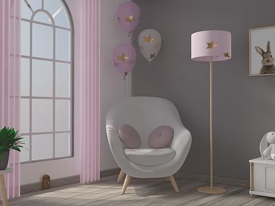 Babyroom interior design cinema 4d illustration design art 3d cinema4d