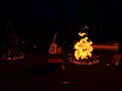 Campfire fire campfire art poly low modelling 3d cinema 4d