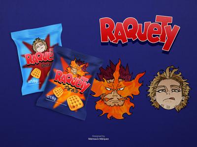 Raquety - Boku No Hero Academia packaging illustration illustrator graphic brand redesign marca anime boku no hero boku no hero academia bnha venezuela raquety