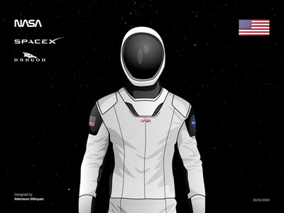 NASA - SpaceX Suit star vector designer illustration illustrator design falcon suit rocket space eeuu united states dragon space x spacex nasa
