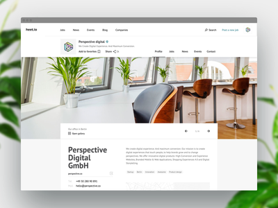Job board — Company page hero profile bright web design startup job board website berlin clean ui