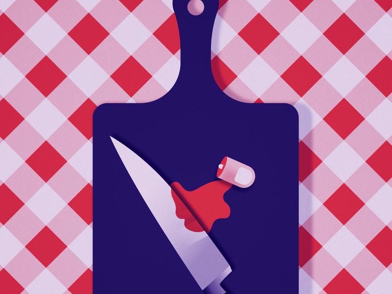 Day 24 - Chop chop finger knife design 2d illustration