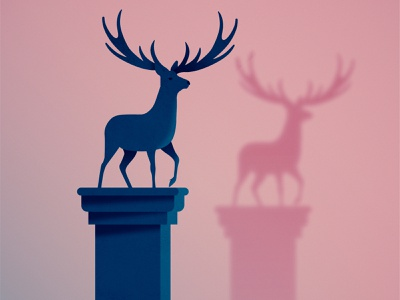 Day 29 - Double antlers statue deer stag design illustration 2d