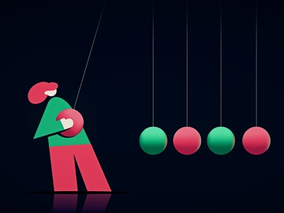 Day 30 - Jolt newtons cradle design illustration character 2d