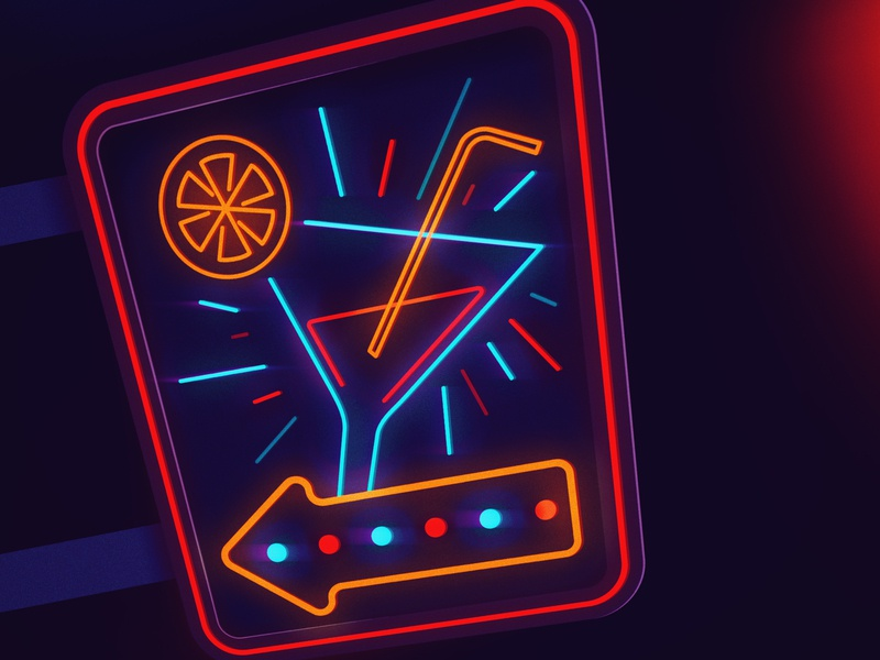 Day 31 - Slice cocktail neon sign neon design illustration 2d