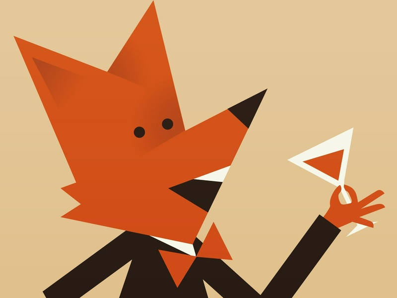 Triangular boye geometric fox animal design illustration character 2d