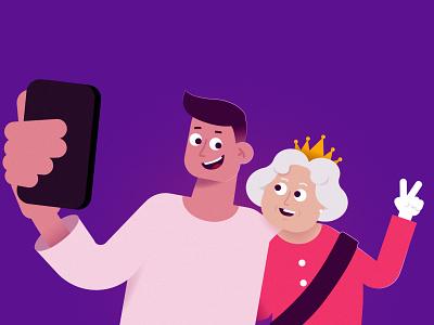 Citizenship britain great uk elizabeth queen funny design illustration character 2d
