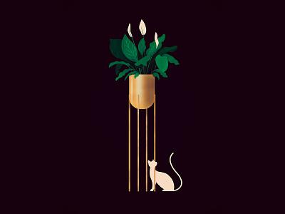 Golden plant plant cat vector 2d design illustration