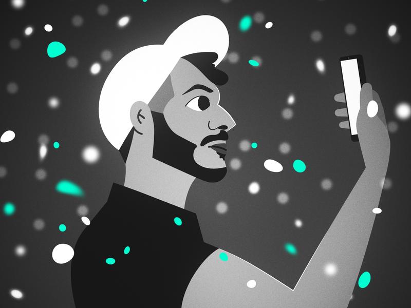 Selfie hat man selfie design illustration character 2d