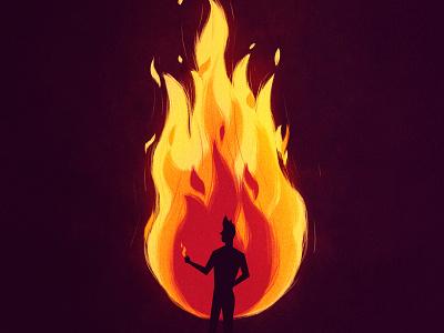 Arsonist man burning burn flames fire vector character design illustration 2d