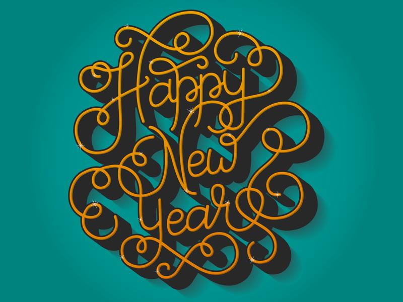 Happy New Year festive fancy lettering fancy font hand lettering illustrator design custom lettering happy new year