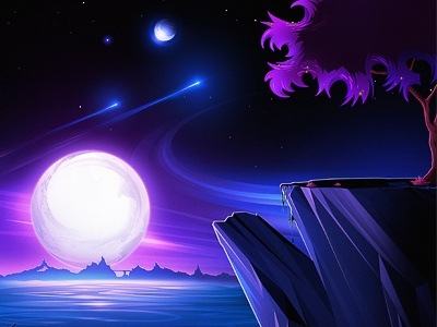 Further Away space moon tree mountains land cliff water