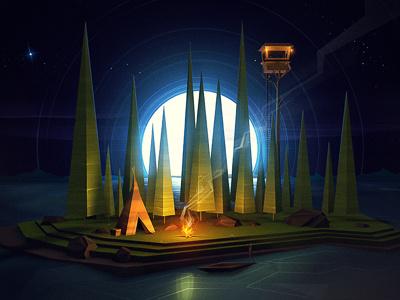 Away moon tent boat fire stars