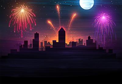 4th theme 4th july fireworks sky night fire city