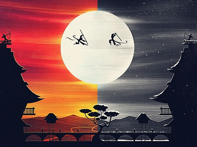 Battle at Meiji Temples temple fight illustration samurai moon sun snow