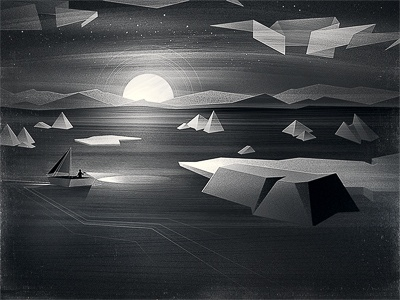 nowhere moon boat light ice