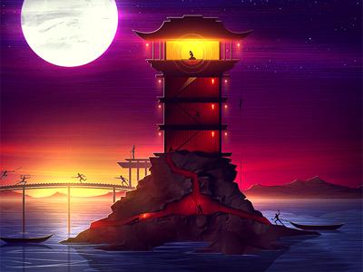 The Capture capture digital artist princess ninjas moon water bridge battle war