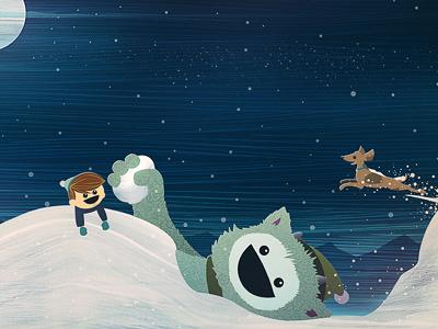 Tomorrow's A Snow Day snow illustration dog boy imagination