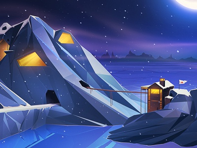 Northern Escape ice hut moon mountains