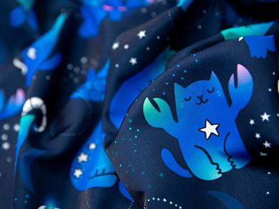 Kawaii Cats Zodiac fabric textile pattern pattern design kostolom3000 spoonflower cat textile fabric seamlesspattern seamless pattern illustration cute