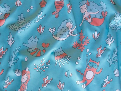 Fabric by the Yard Mermaids & cats. cute kids drawing vector cartoon illustration fabric design kostolom3000 catmaid mermaid cats fabric pattern textile fabric spoonflower