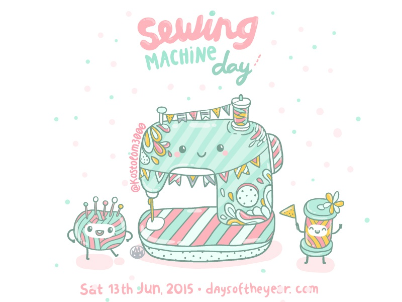 40 June Sewing Machine Day By Anna Alekseeva Dribbble Dribbble Cool Sewing Machine Day