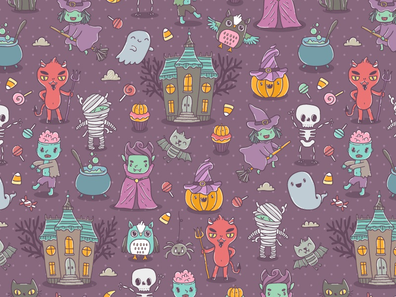 Happy Halloween Characters  dracula cute cartoon holiday zombie illustration vector characters pattern seamless halloween