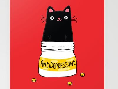 Blact cat. Fur Antidepressant