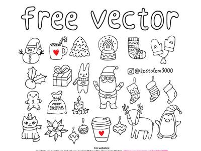 Free vector Christmas Sketch Set