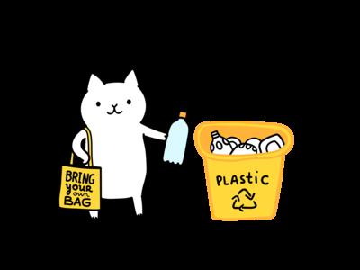 White cat recycles plastics