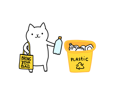 White cat recycles plastics art drawing cute vector cartoon recycle characer illustration cat illustration ecologic ecology environment zero waste reduce reuse recycle recycling plastic